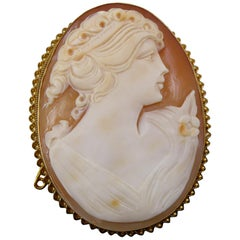 Vintage Cameo Shell Brooch, Rope Twist Edge, 1970s
