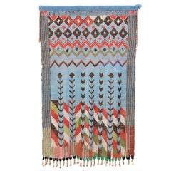 Vintage Cameroonian Pale Blue Glass Beaded Curtain