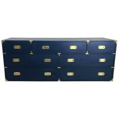 Vintage Campaign Dresser Newly Lacquered in Navy Blue