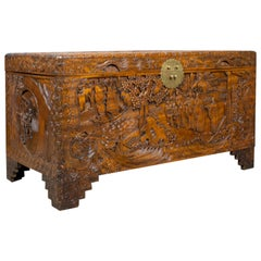 Vintage Camphor Wood Chest, Oriental Carved Scenes, Trunk, circa 1940