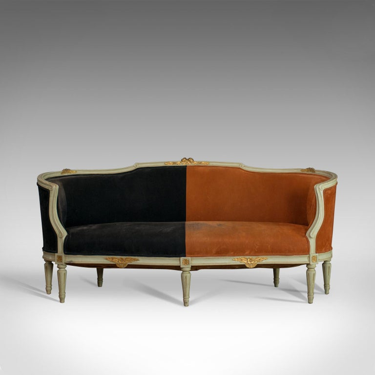 This is a vintage canapé sofa in Louis XV taste. A French, beech and velour two-tone sofa dating to the early 20th century, circa 1930.