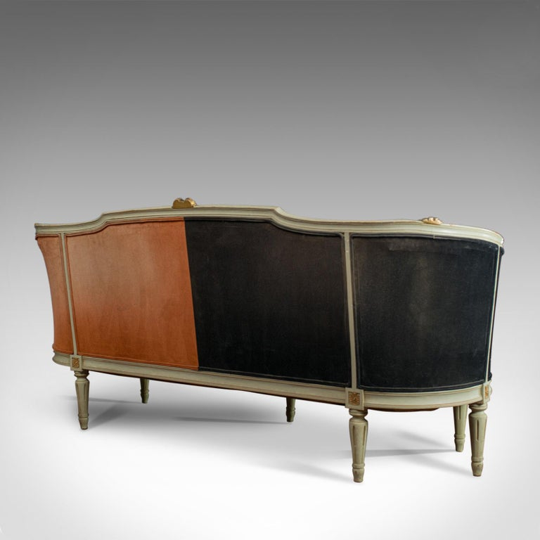 20th Century Vintage Canape Sofa, Louis XV Taste, French, Beech, Velour, Two-Tone, circa 1930 For Sale