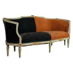 Vintage Canape Sofa, Louis XV Taste, French, Beech, Velour, Two-Tone, circa 1930