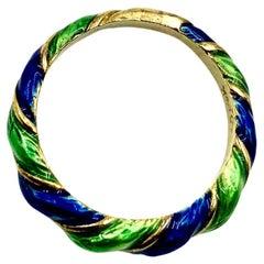 Vintage Candy Cane Swirl Blue, Green Enamel 14K Yellow Gold Band Ring, Pendant