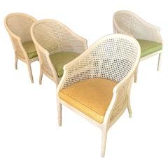 Vintage Cane Back Barrel Chairs, Set of Four