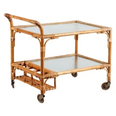 Vintage Cane Bar/Drinks Trolley on Wheels with Frosted Glass, Denmark, 1950s