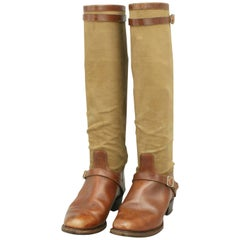 Vintage Canvas and Leather Field Boots