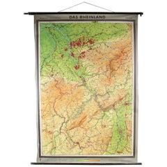 Vintage Canvas Hang Wall Map of Rheinland, 20th Century