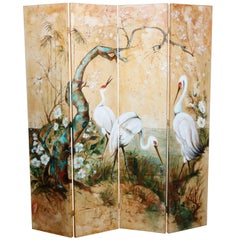 Vintage Canvas on Panel Folding Screen with Marsh and Bird Scene, 20th Century