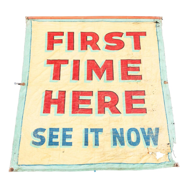 Vintage Canvas Side Show Banner Carnival For Sale