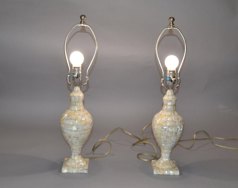Hollywood Regency Vintage Capiz Shell Table Lamps with Shades, Pair For Sale