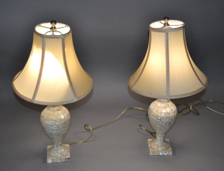 Vintage Capiz Shell Table Lamps with Shades, Pair In Good Condition For Sale In Miami, FL