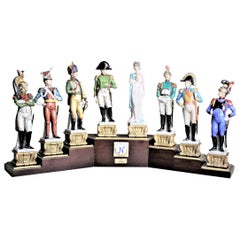 Vintage Capodimonte Military Porcelain Sculpture Set with Tiered Display Stand