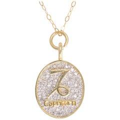 Vintage Capricorn Diamond Zodiac Pendant