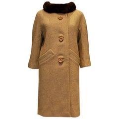 Vintage Caramel Wool and Mink Coat by Jeshiva