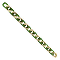 Vintage Carimati Nephrite, Diamond and Gold Bracelet