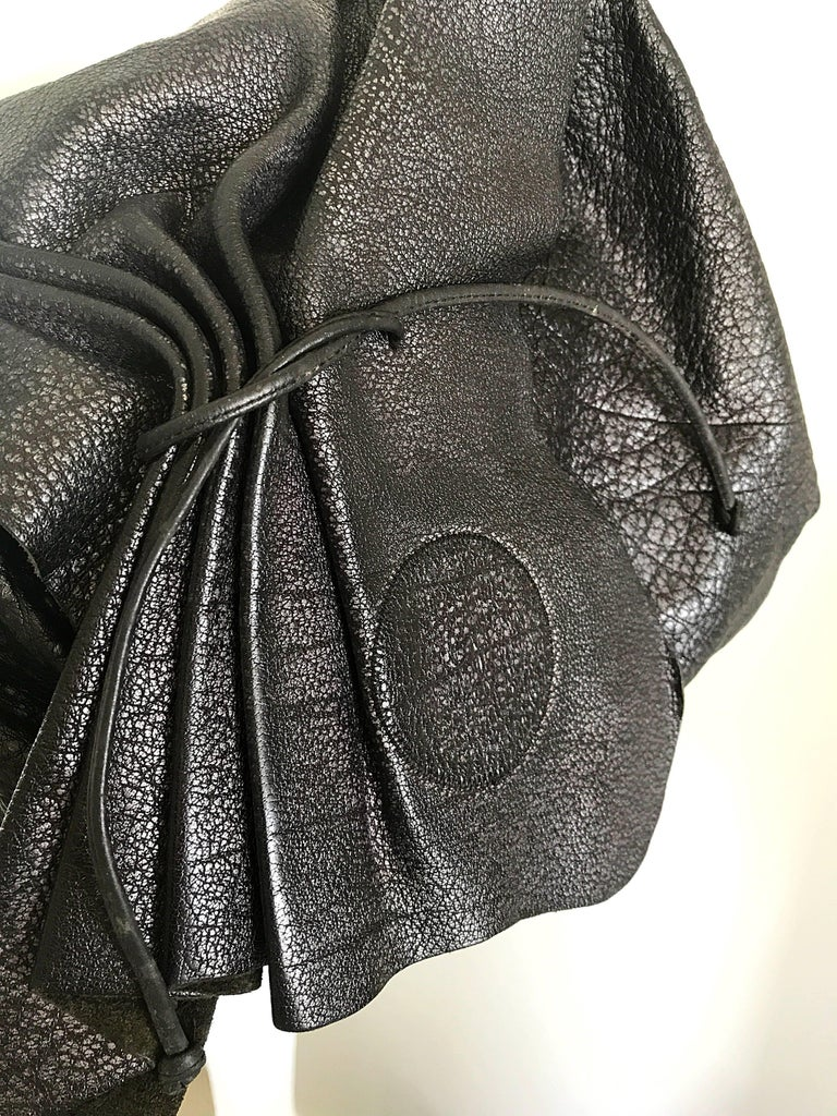 Vintage Carlos Falchi Black Buffalo Leather Shoulder Bag or Crossbody Purse In Excellent Condition For Sale In Chicago, IL