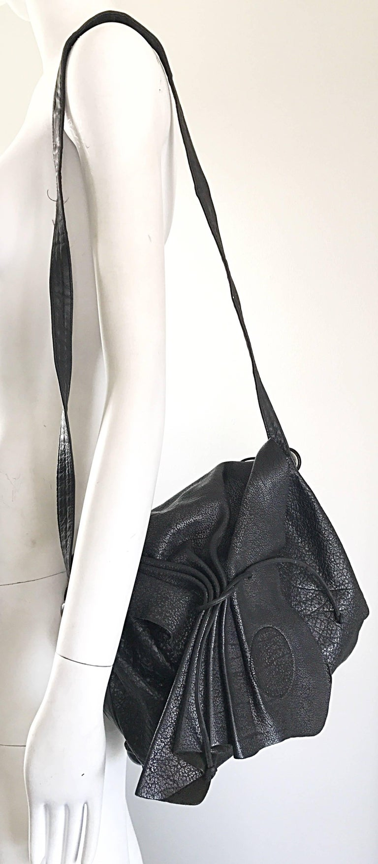 Vintage Carlos Falchi Black Buffalo Leather Shoulder Bag or Crossbody Purse For Sale 2