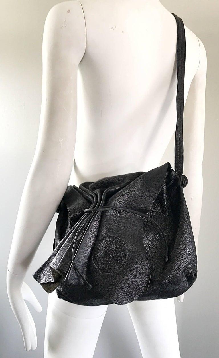 Vintage Carlos Falchi Black Buffalo Leather Shoulder Bag or Crossbody Purse For Sale 4