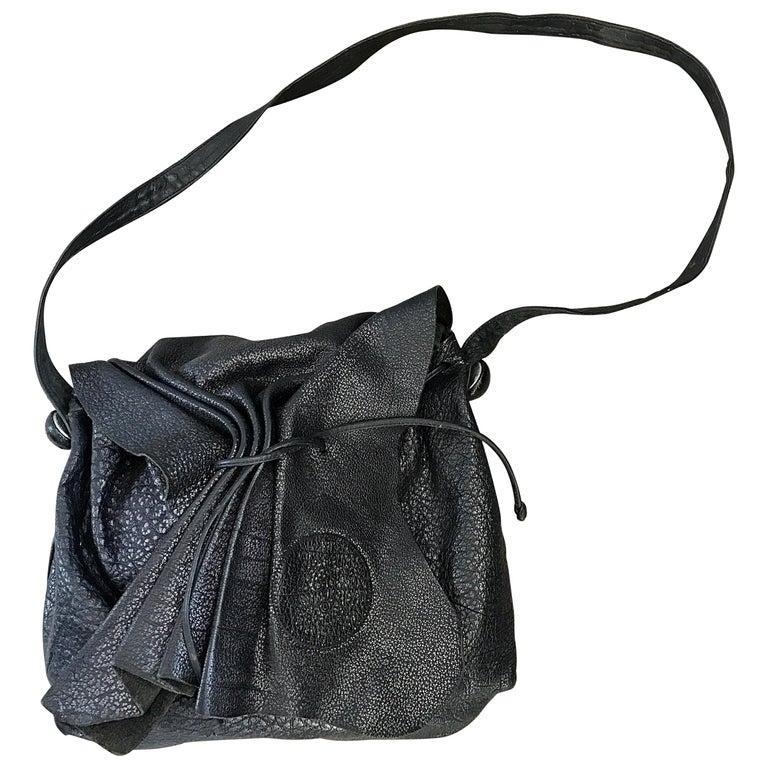 Vintage Carlos Falchi Black Buffalo Leather Shoulder Bag or Crossbody Purse For Sale