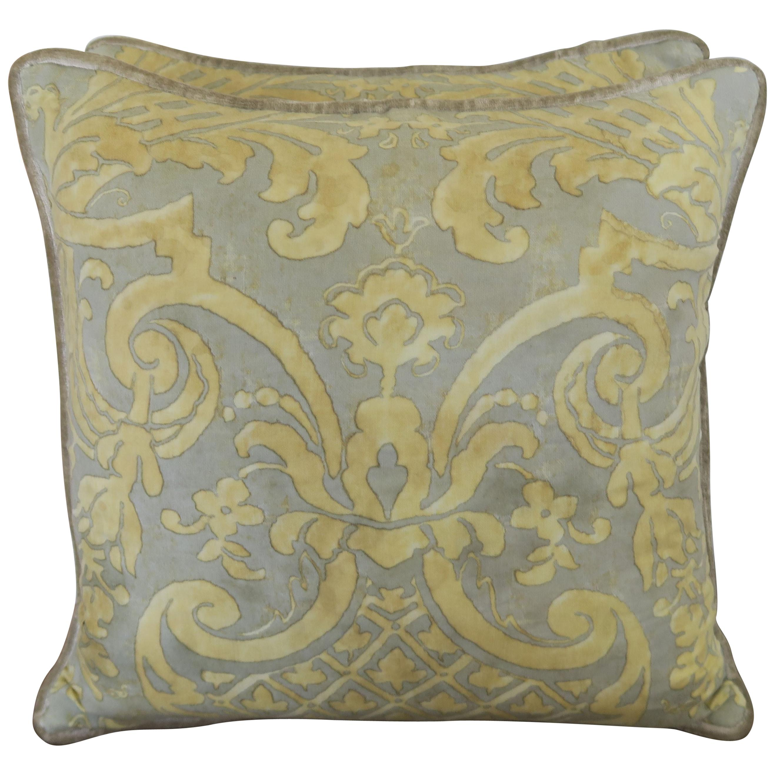Vintage Carnavalet Fortuny Textile Pillows, a Pair