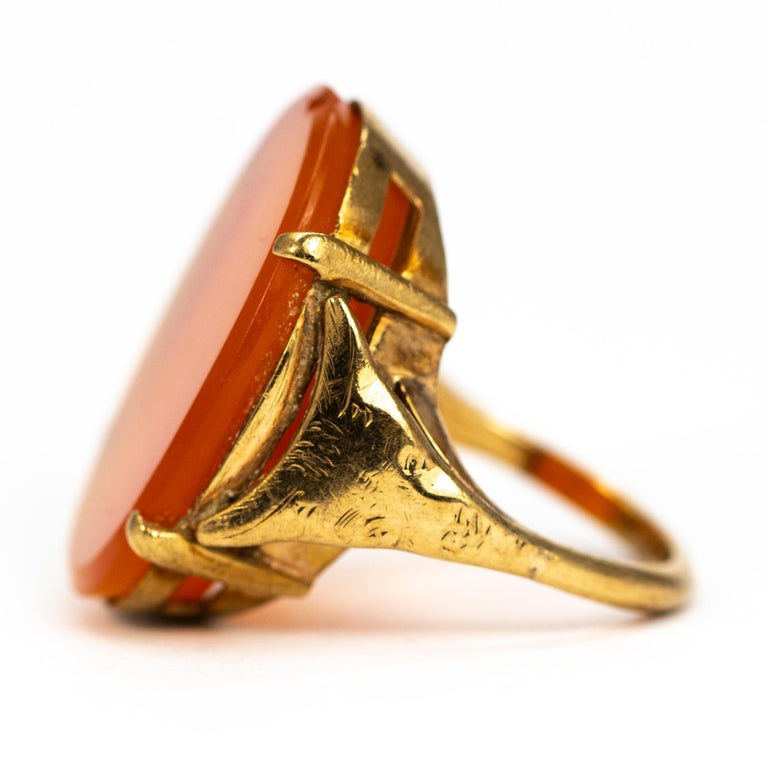 Modern Vintage Carnelian and 9 Carat Gold Ring For Sale