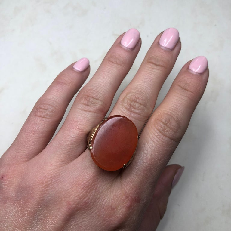 Women's Vintage Carnelian and 9 Carat Gold Ring For Sale