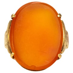 Vintage Carnelian and 9 Carat Gold Ring