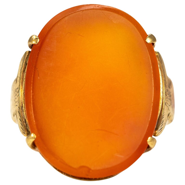 Vintage Carnelian and 9 Carat Gold Ring For Sale