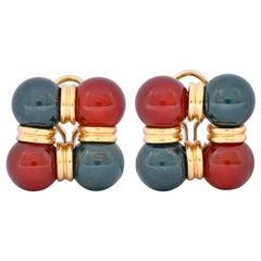 Vintage Carnelian Bloodstone 14 Karat Gold Square Ball Earrings, circa 1980s