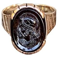 Vintage Carnelian Intaglio Man's 10 Karat Rose Gold Ring - Size 10 1/2