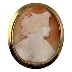 Vintage Carnelian Shell Cameo Brooch, Oval Gold Mount, circa 1960s