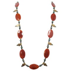 Vintage Carnelian & Turquoise Sterling Silver/Gold Wash Necklace