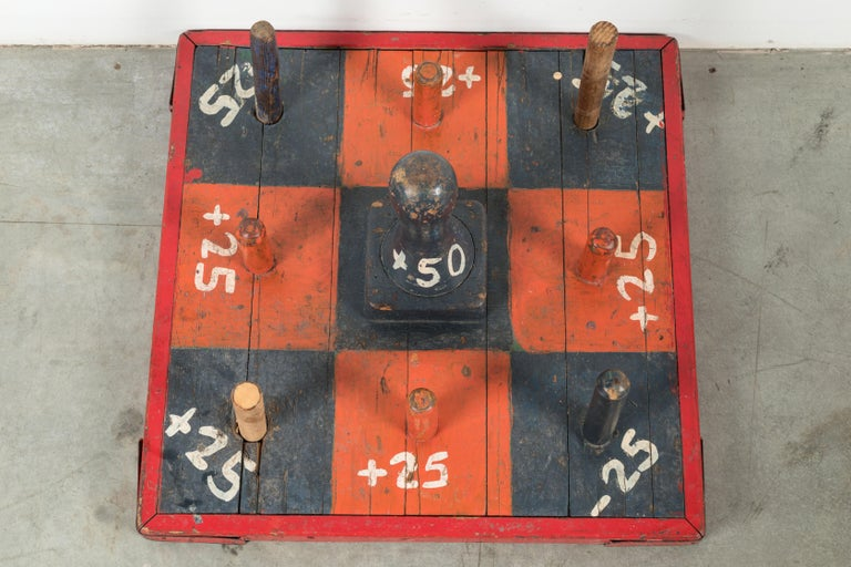 Hand-Painted Vintage Carnival Midway Wood Ring Toss Game For Sale