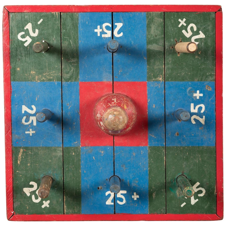 Vintage Carnival Midway Wood Ring Toss Game For Sale