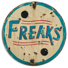 Vintage Carnival Sideshow Sheet Iron Freaks Sign