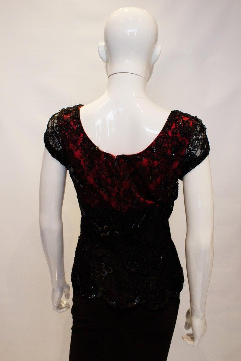 Black Vintage Caroline Charles Evening Top For Sale