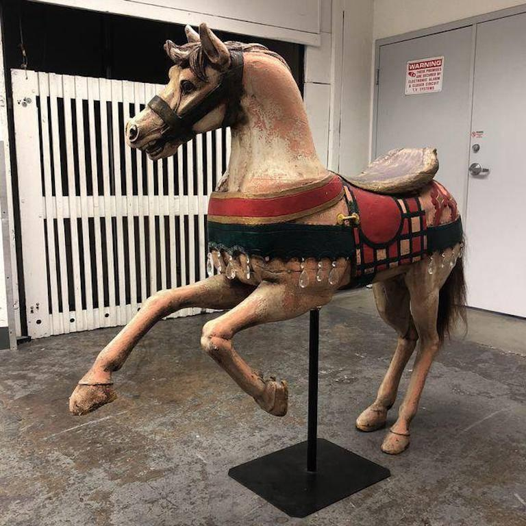 Vintage Carousel Horse On Metal Stand