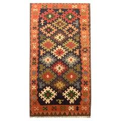 Vintage Carpet Caucasian Kilim Rug Handwoven Geometric Area Rug