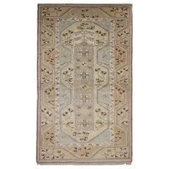 Vintage Carpet Turkish Rug Handwoven Beige Cream Wool Rug