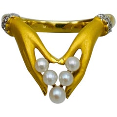 Vintage Carrera y Carrera Yellow Gold, Pearl and Diamond Ring