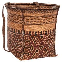 Vintage Carrying Basket Woven Design, Ngaju Dayak of Borneo, Mid-20th Century