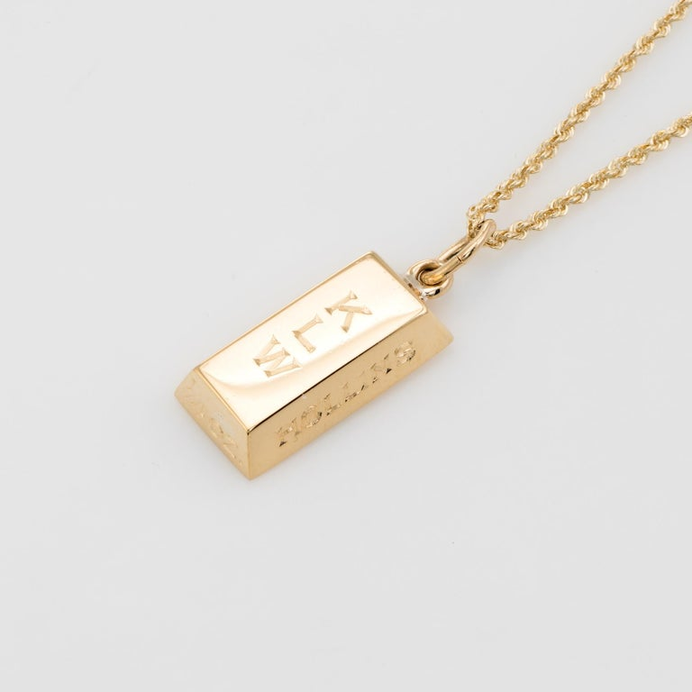 3518c16692ca2 Vintage Cartier 1/4 Oz Gold Bar Ingot Pendant Charm 18 Karat Gold Chain  Estate