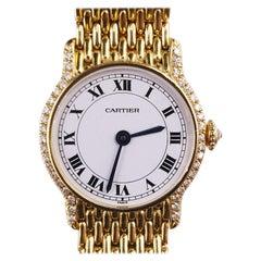 Vintage Cartier 18 Carat Yellow Gold Diamond Bracelet Watch