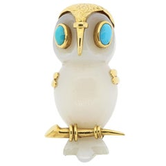 Vintage Cartier 18 Karat Gold Agate Turquoise Owl Pin