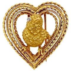 Vintage Cartier 18 Karat Mid-Century Modern Gold Lovebird Pin
