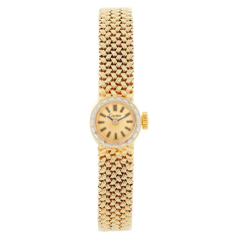 Vintage Cartier 18 Karat Yellow Gold Ladies Watch For Sale