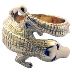Vintage Cartier 18 Karat Yellow Gold Ruby Alligator Wrap Ring
