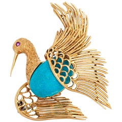 Vintage Cartier 18 Karat Yellow Gold Turquoise and Ruby Swan or Bird Brooch