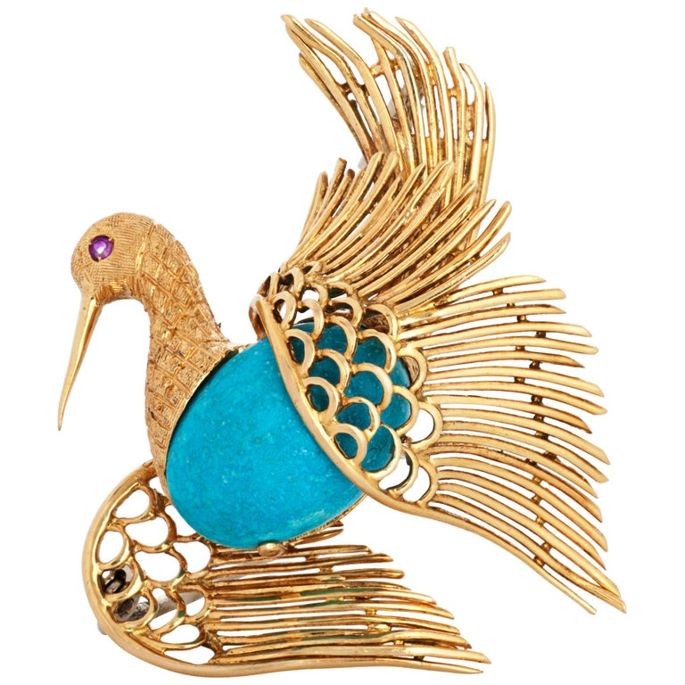 Vintage Cartier 18 Karat Yellow Gold Turquoise and Ruby Swan or Bird Brooch For Sale